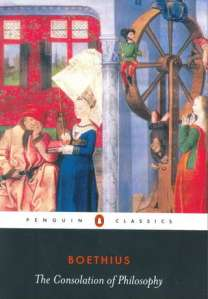 The Penguin Classics edition shows Philosophy talking to Boethius while Fortune turns her wheel in the background