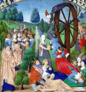 Another image of the Wheel of Fortune, from a 15th century manuscript